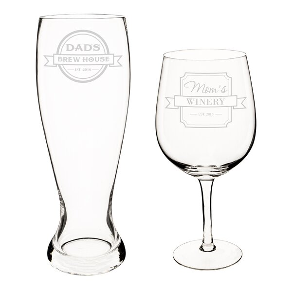 Personalized Mom and Dad XL Beer and Wine Glass Set by Cathys Concepts