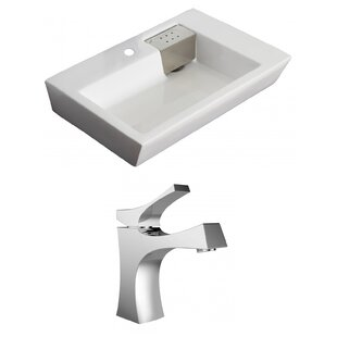 Best Price Ceramic 26 Wall Mount Bathroom Sink with Faucet and Overflow ByAmerican Imaginations