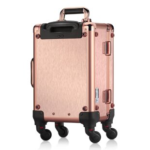 Ovonni LED Lighted Rolling Travel Makeup Train Case with Mirror & 4 Detachable Wheels, Lockable