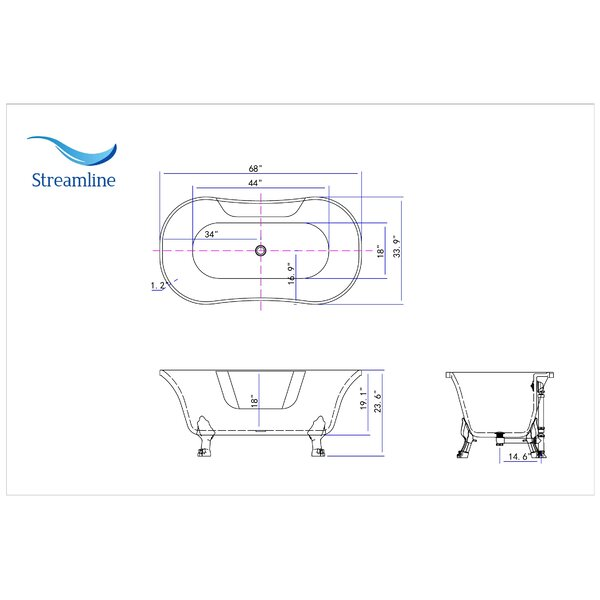 68 x 34 Clawfoot Freestanding Soaking Bathtub by Streamline Bath