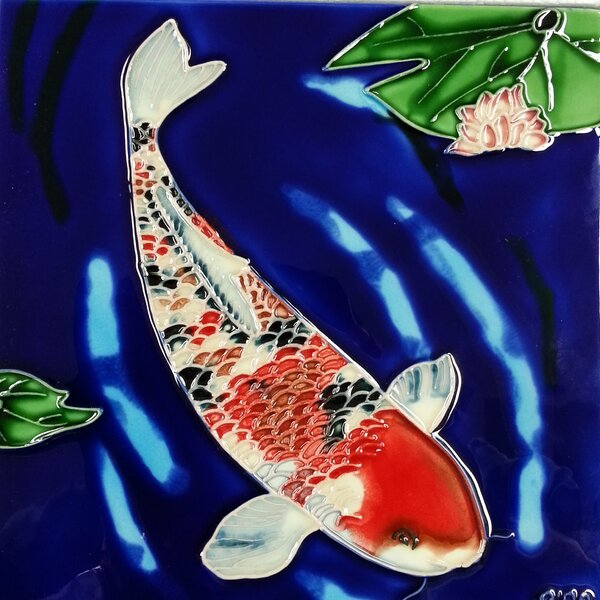 Koi Fish Blue Background Tile Wall Decor by Continental Art Center