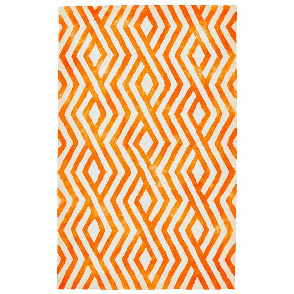 Emmeline Hand-Tufted Orange Indoor/Outdoor Area Rug by Ebern Designs