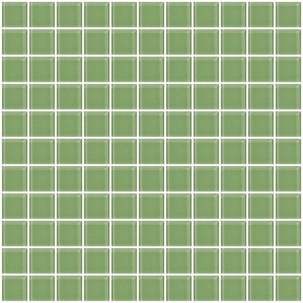 1 x 1 Glass Mosaic Tile in Light Sage Soft Green by Susan Jablon