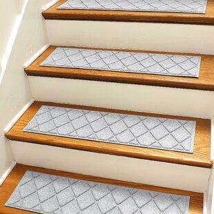 Aqua Shield Gray Argyle Stair Tread (Set Of 4)