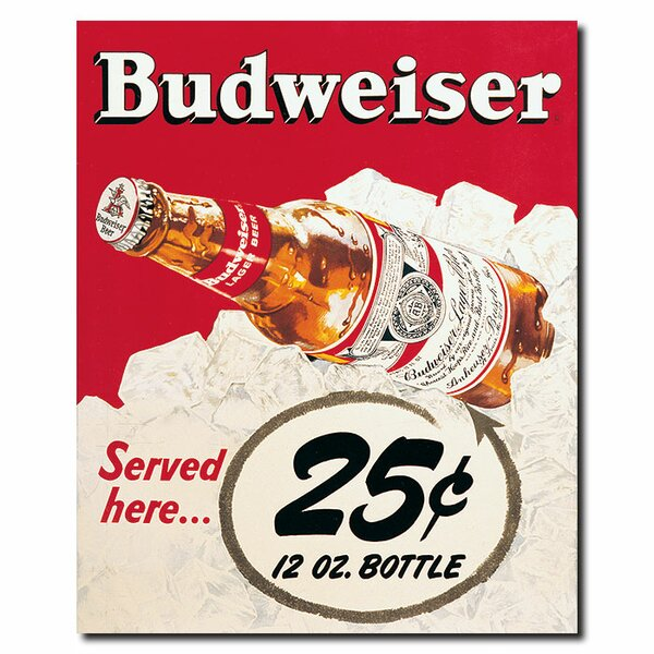 Budweiser Vintage Ad - 25 cents Vintage Advertisement on Wrapped Canvas by Trademark Fine Art