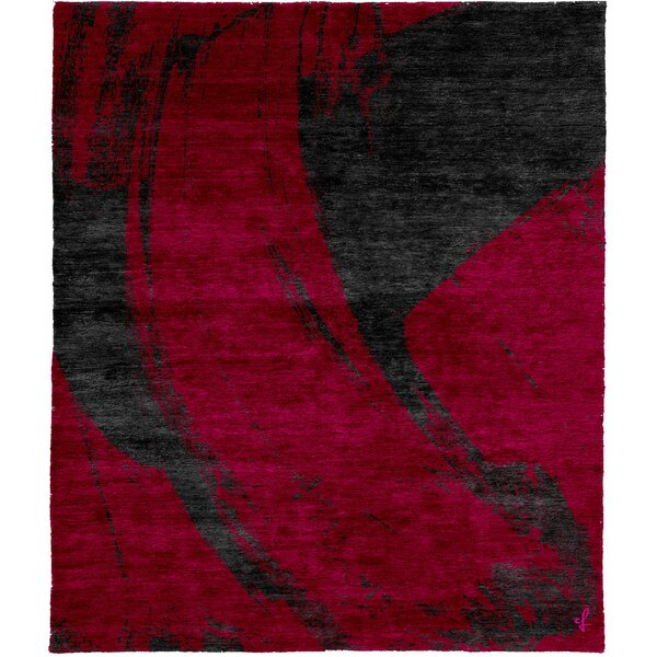 One-of-a-Kind Lizette Hand-Knotted Traditional Style Red/Black 6' x 9' Wool Area Rug