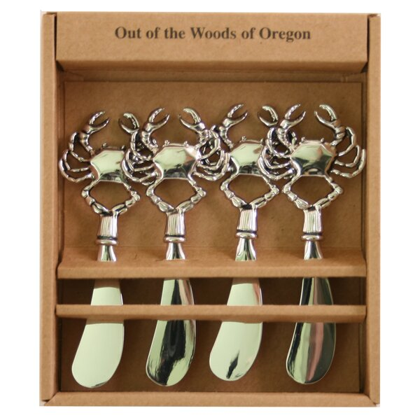 Metal Spreaders Crab Cheese Knife (Set of 4) by Out of the Woods of Oregon
