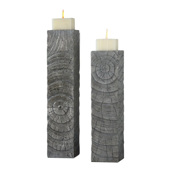Log 2 Piece Wood Candlestick by Union Rustic