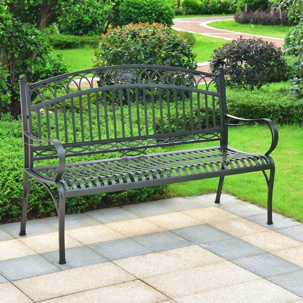 Oak Bluffs Iron 3-Seater Garden Bench by Fleur De Lis Living