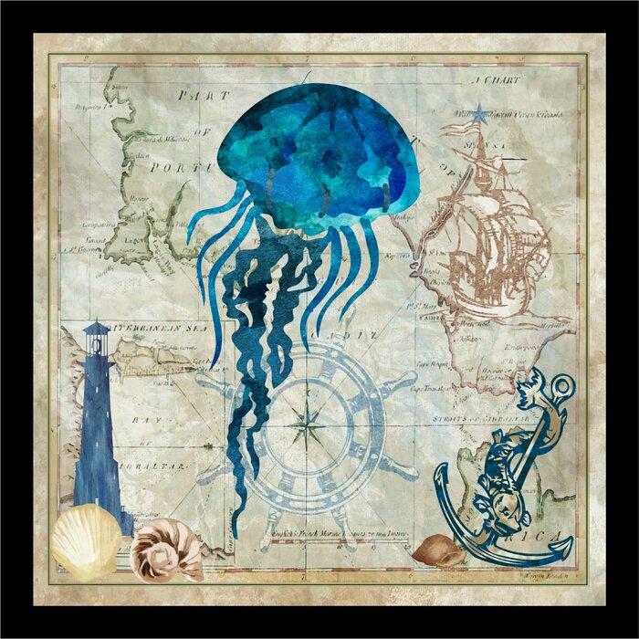 Map \'Nautical Jellyfish\' Framed Graphic Art Print
