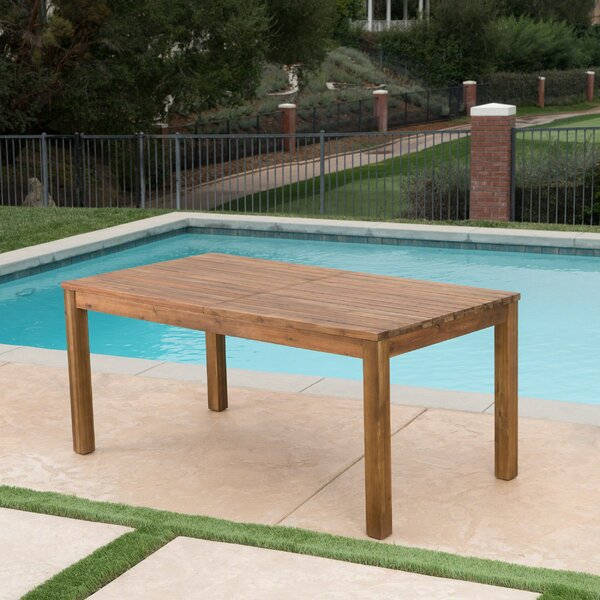 Statler Outdoor Extendable Wooden Dining Table by