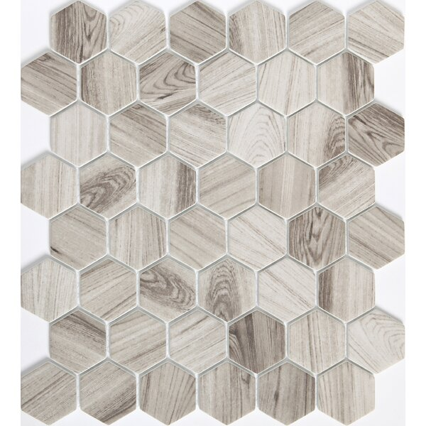 Echo Hex 2 x 2 Glass Mosaic Tile in Gray by Emser Tile
