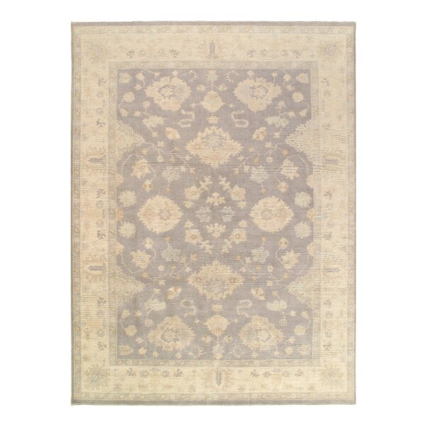 One-of-a-Kind Leedey Hand-Knotted Gray/Ivory 9' x 13' Wool Area Rug