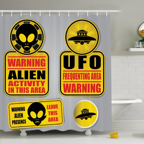 Outer Space Warning Alien UFO Sign Face of Martian Creature Danger Horror Print Shower Curtain Set by Ambesonne