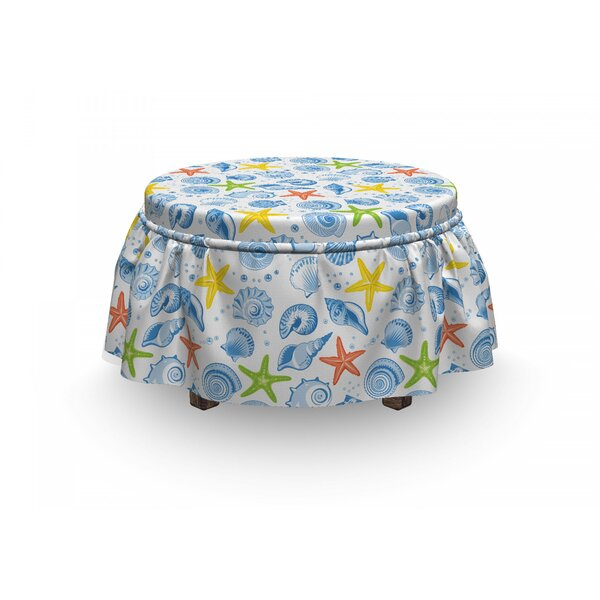 Sea Shells Marine Stars 2 Piece Box Cushion Ottoman Slipcover Set By East Urban Home