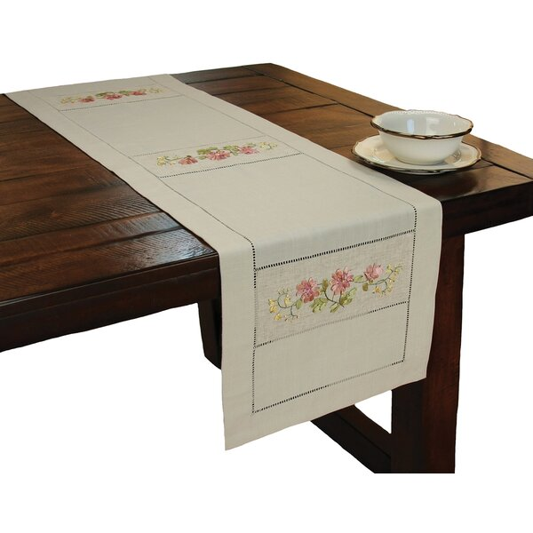 Handmade Ribbon Embroidery Flower with Hemstitch Table Runner by Xia Home Fashions