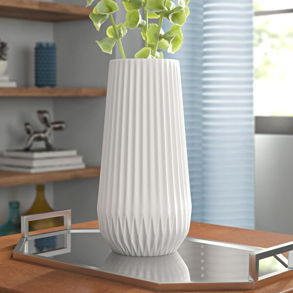 White Textured Table Vase by Wrought Studio