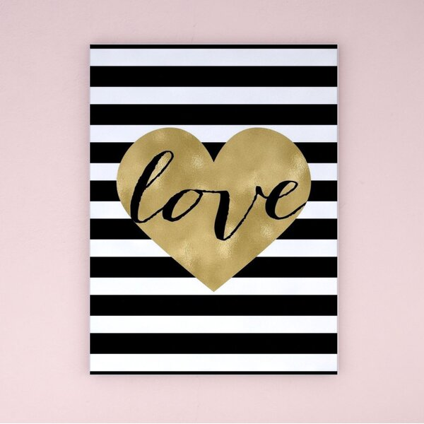 Love Heart Stripe Paper Print by Viv + Rae