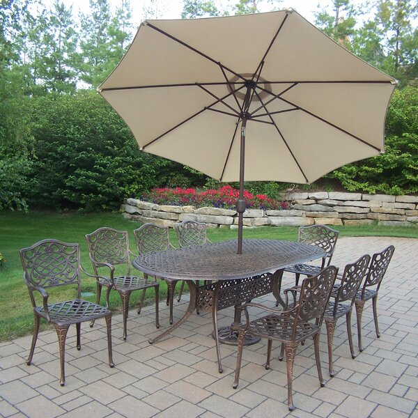 Mississippi 9 Piece Dining Set with Umbrella by Oakland Living