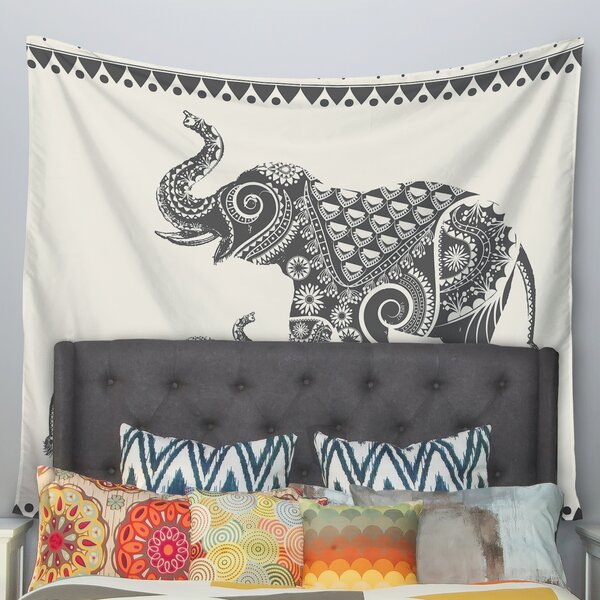 Ornate Indian Elephant-Boho by Famenxt Wall Tapest