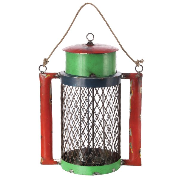 Reclaimed Metal and Glass Lantern with Handle by Loon Peak