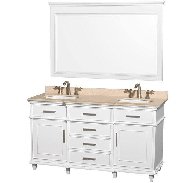 Berkeley 60 Double White Bathroom Vanity Set with Mirror by Wyndham Collection