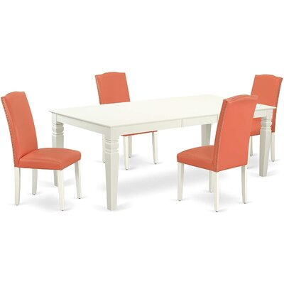 Winston Porter DeAnte 5 - Piece Extendable Solid Wood Dining Set  Table Color: Linen White, Chair Color: Pink Flamingo