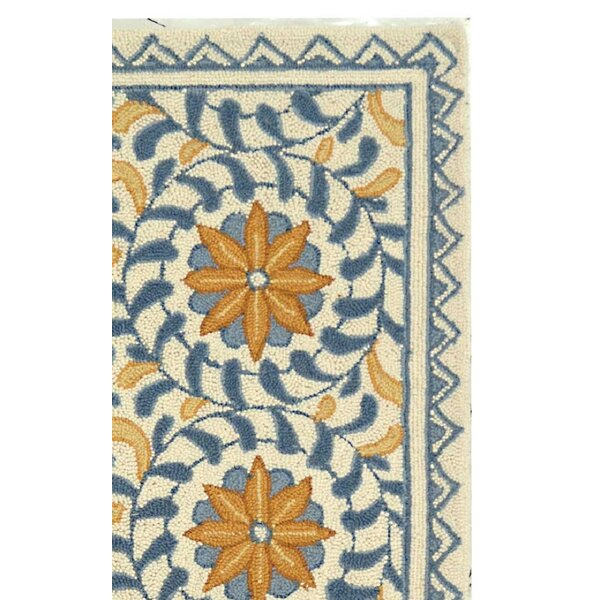 Helena Floral Handmade Wool Ivory/Blue Area Rug by Charlton Home
