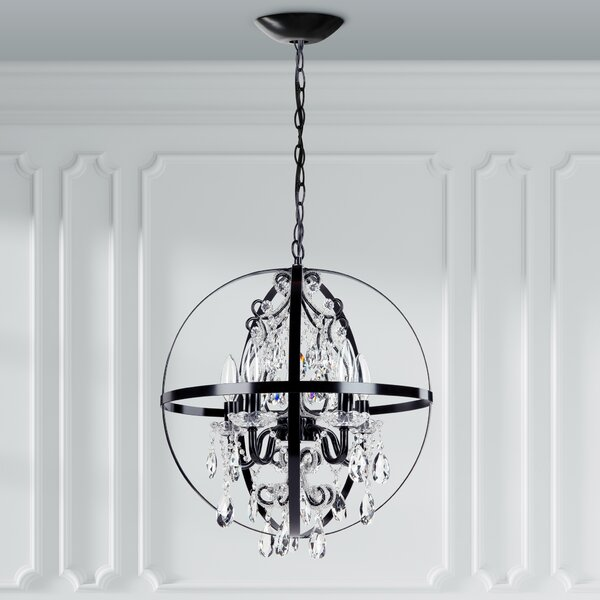 Luna 5-Light Unique / Statement Globe Chandelier with Wrought Iron Accents by Amalfi Decor Amalfi Decor