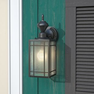 Comparison Lakewood 1-Light Black Outdoor Wall Lantern By Three Posts