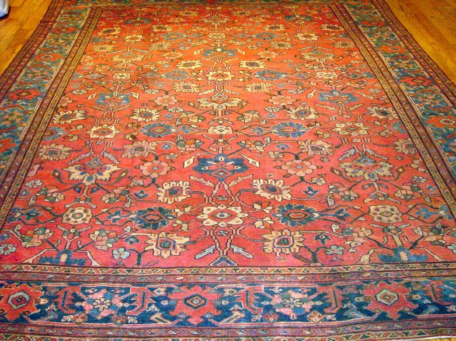 Pasargad mahal antique hand knotted wool red blue area rug for Red and blue area rug