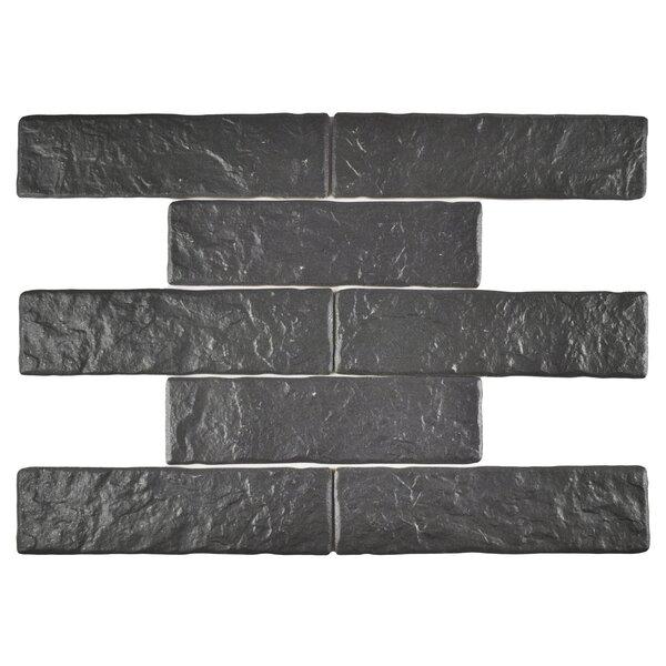 Belcanto 3.13 x 11.38 Porcelain Splitface Tile in Black by EliteTile