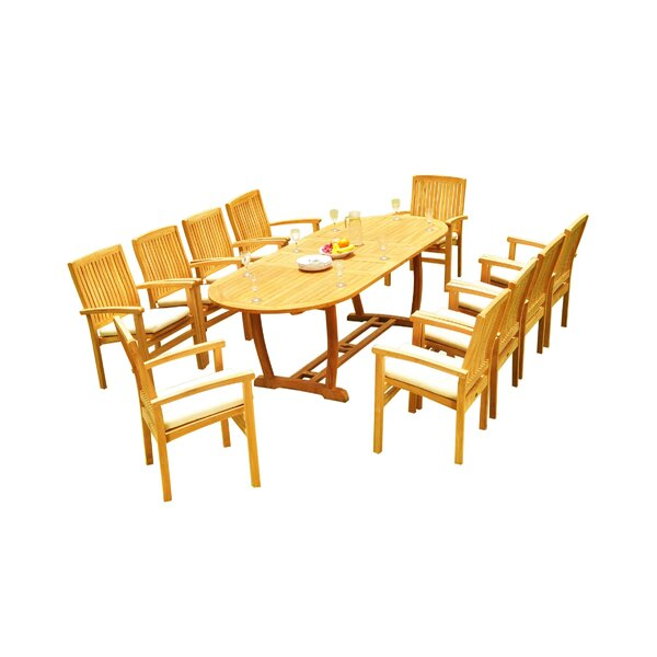 Masuda 11 Piece Teak Dining Set by Rosecliff Heights