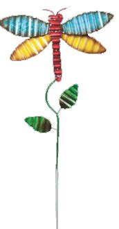 Kenzie Metal Dragonfly Garden Stake by August Grove