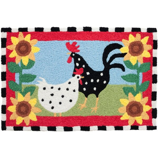 Mcglothin Funky Chickens Hand-Tufted Red/Black/Yellow Indoor/Outdoor Area Rug by August Grove