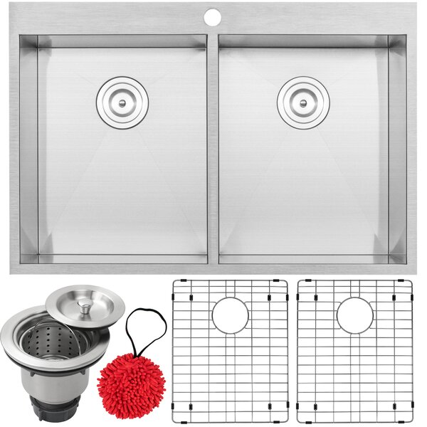 Arlo Series Stainless Steel 33 L x 22 W Double Basin Drop-In Kitchen Sink with Accessories