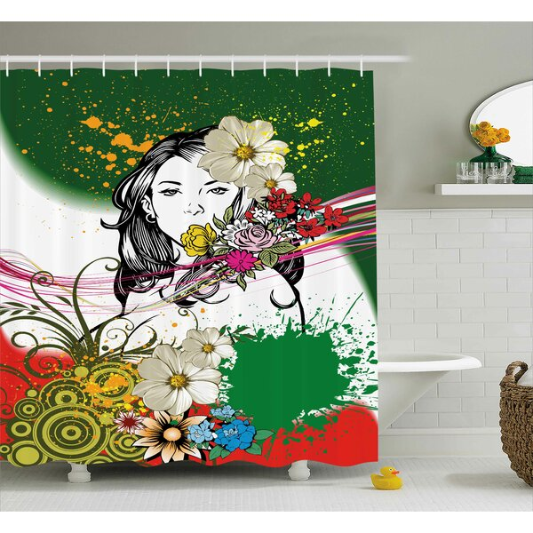 Thea Woman Figure Behind Tropical Flowers Spirals Hippie Boho Style Illustration Shower Curtain by Ebern Designs