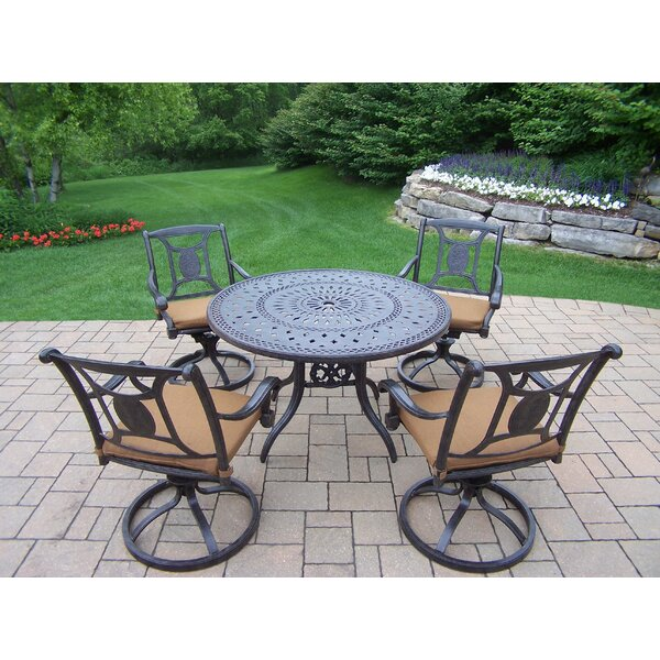 Zonia 5 Piece Dining Set with Cushions by Charlton Home