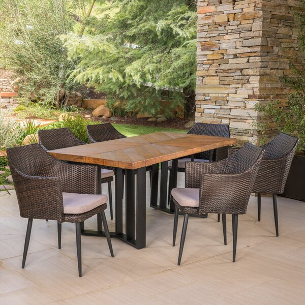 Outdoor 7 Piece Dining Set with Cushions by Gracie Oaks