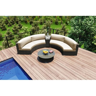 Rosecliff Heights Rattan Sunbrella Sectional Seating Group Cushions Color Seating Groups