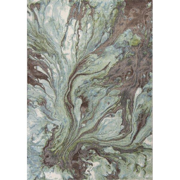 Kaia Seafoam/Brown Area Rug by Wade Logan