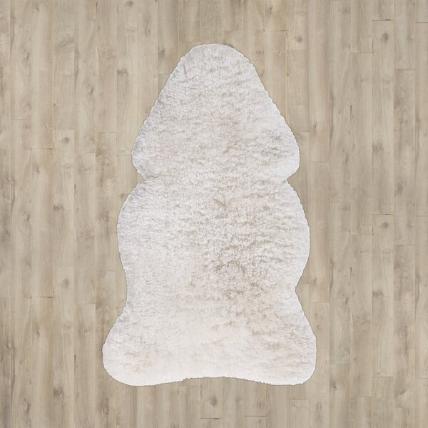 Hlett Faux Sheepskin Ivory Area Rug by Loon Peak