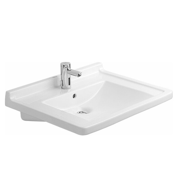 Starck 3 Ceramic 28 Wall Mount Bathroom Sink with Overflow by Duravit