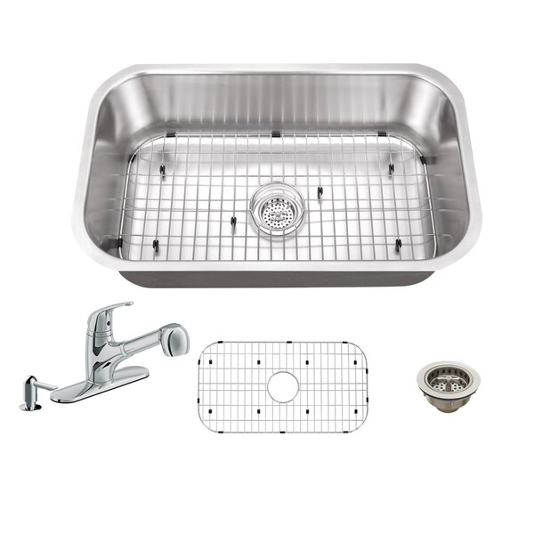 30 L x 18 W Single Bowl Undermount Kitchen Sink with Faucet by Soleil
