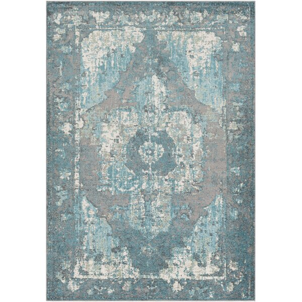 Almendarez Distressed Teal/Off-White Area Rug by Bungalow Rose