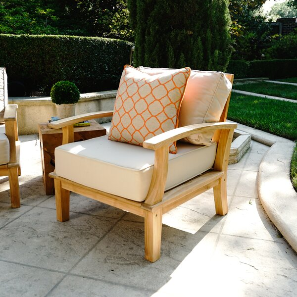 Galvan Outdoor Teak Patio Chair with Cushion by Rosecliff Heights