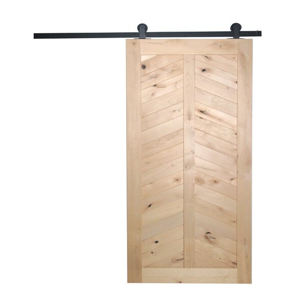 Chevron Solid Panelled Wood Interior Barn Door by Artisan Hardware