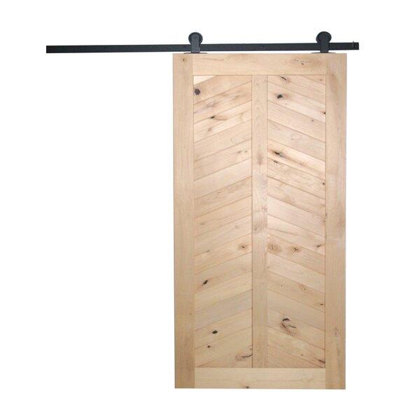 Chevron Solid Panelled Wood Interior Barn Door by Artisan Hardware