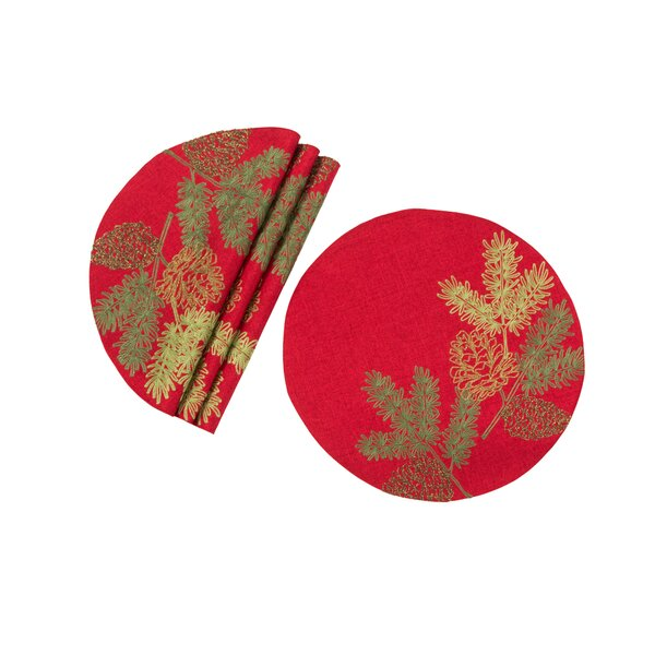 Rollo Christmas Pine Tree Branches Embroidered Round 16 Placemat (Set of 4) by The Holiday Aisle