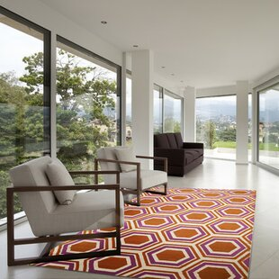 Fallon Hand-Woven Orange/White Area Rug by Jill Rosenwald Home